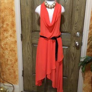 Cowl asymmetric high Lo dress